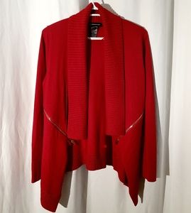INC red cardigan with gold zippers